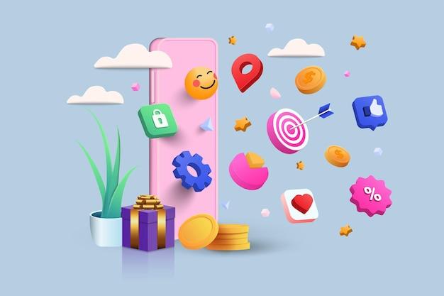 Mobile payment 3d illustration, negozio online, pagamento online e concetto di consegna con elementi galleggianti. banner di vendita, confezione regalo, sconto, pubblicità sociale. illustrazione di vettore 3d.