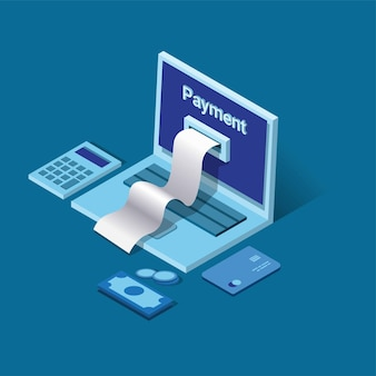 Pagamento mobile. fattura sul laptop con calcolatrice, soldi e carta di credito. concetto di simbolo di gestione delle finanze in isometrico