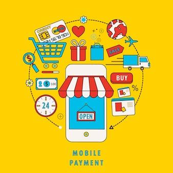 Concetto di pagamento mobile con elementi correlati nel design a linea piatta