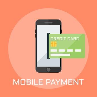 Illustrazione di stile di design piatto pagamento mobile, smartphone sullo schermo mostra la carta di credito