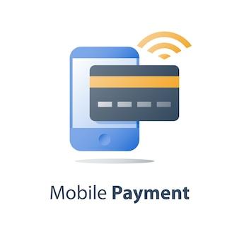 Pagamento mobile, servizi bancari online, servizi finanziari, smartphone e carta di credito, pagare con denaro, icona