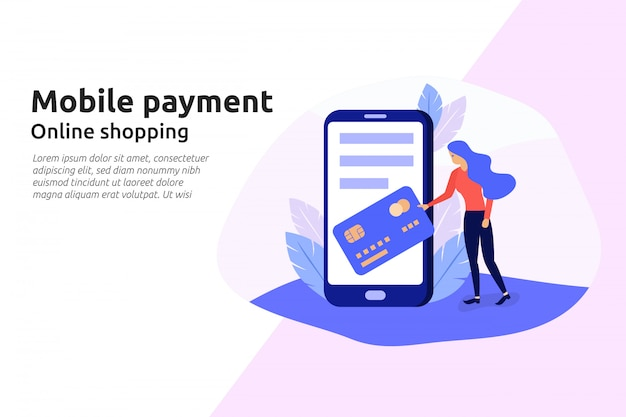 Servizio online di pagamento mobile per il moderno sito web aziendale
