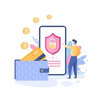 Concetto di protezione del pagamento mobile. transazione digitale sicura