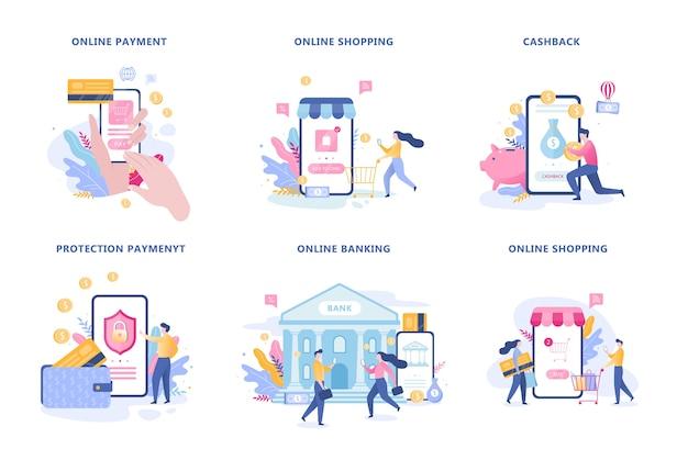Set di pagamento mobile. una transazione di denaro digitale