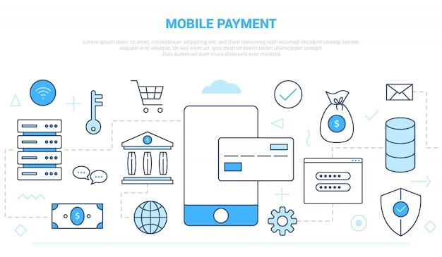 Concetto di tecnologia di pagamento mobile con varie linee di icone come smartphone e carta di credito con uno stile moderno