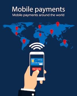 Pagamenti mobili in tutto il mondo. infografica. concetto di affari. illustrazione.