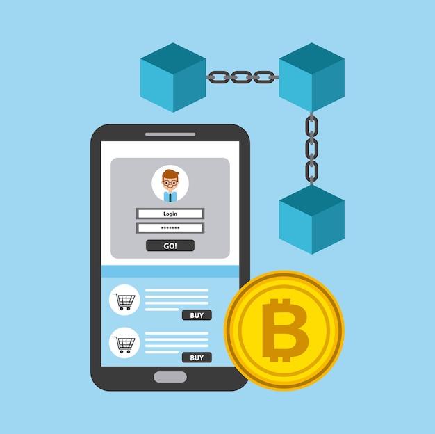 Cellulare blockchain con accesso bitcoin digitale Vettore Premium