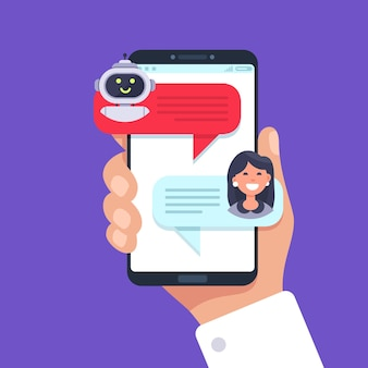 Telefono cellulare in chat con chat bot