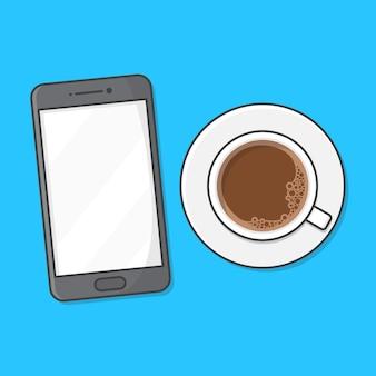 Illustrazione dell'icona della tazza di caffè e del telefono cellulare