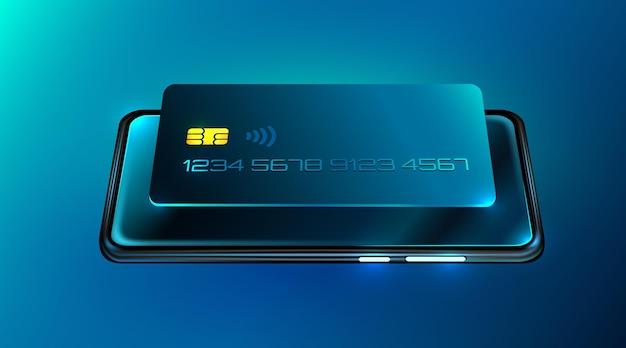 Pagamento in linea di internet banking tramite telefono cellulare e carta di credito