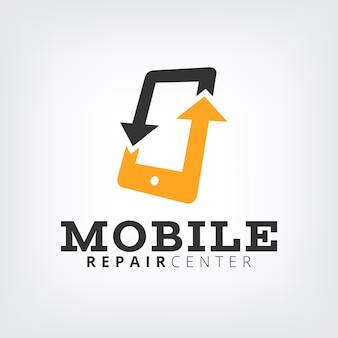 Correzione e riparazione del telefono cellulare con il modello di logo della freccia gialla