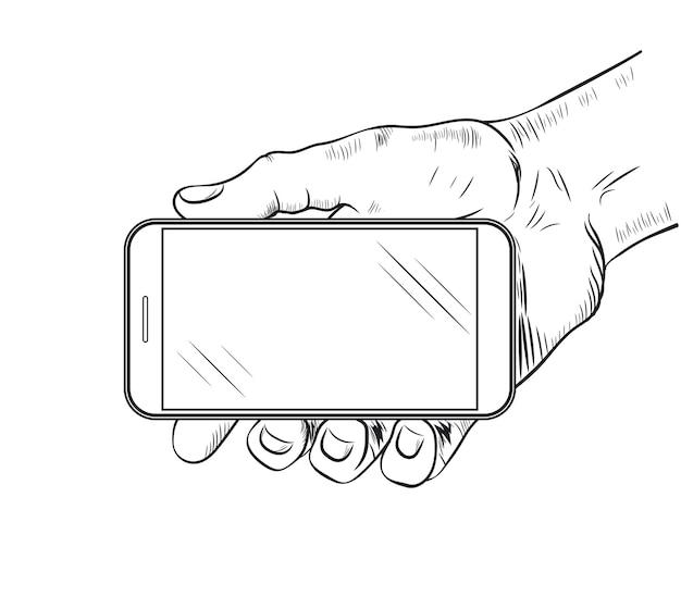 Vista frontale del telefono cellulare in mano. schizzo della mano umana che tiene smartphone vuoto.