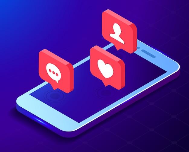 Notifica di messaggi sul reddito del telefono cellulare, concetto di rete di social media, commenti di nuovi follower e icone simili.
