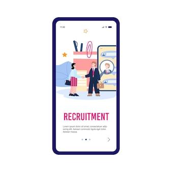 Design della pagina del telefono cellulare per il reclutamento di risorse umane con illustrazione piatta