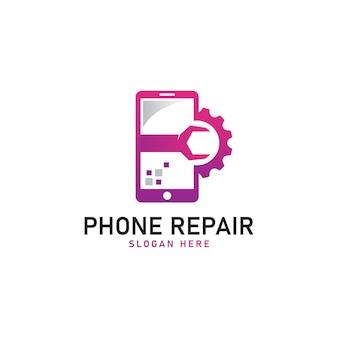 Illustrazione vettoriale del modello di logo di riparazione del telefono cellulare