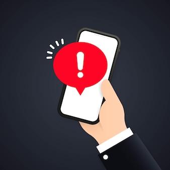 Schermo del telefono cellulare con un avviso su spam, connessione protetta, frode, virus. avviso di allarme telefonico e nuovo messaggio. avvisi di errore di pericolo, problema di virus informatico.