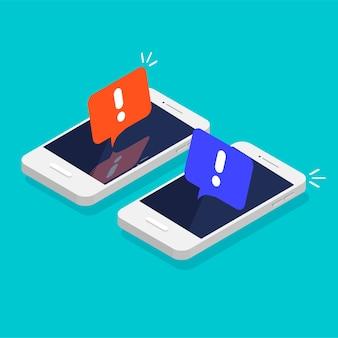 Schermo del telefono cellulare con un avviso relativo allo spam, connessione sicura, virus fraudolento avviso di allarme telefonico e nuovo messaggio smartphone isometrico con fumetto e icona del punto esclamativo
