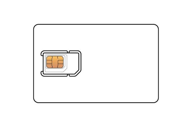 Scheda sim per telefono cellulare con modello di progettazione lineare di chip emv standard, micro e nano. il modello di simbolo della carta di plastica sul vettore bianco del fondo ha isolato l'illustrazione