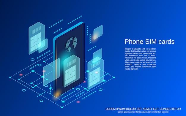 Illustrazione isometrica piana di concetto di vettore delle carte sim del telefono cellulare