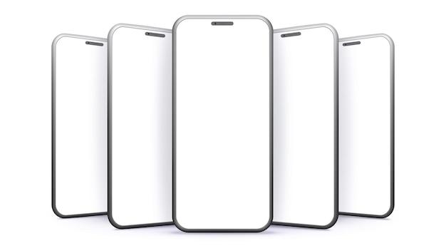 Mockup vettoriali di telefoni cellulari con viste prospettiche schermi vuoti per smartphone isolati su bianco