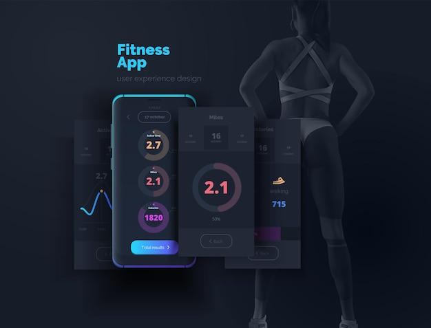Telefono cellulare con layout app per uno stile di vita sano sportivo layout di un'applicazione mobile con diagrammi risultati statistici