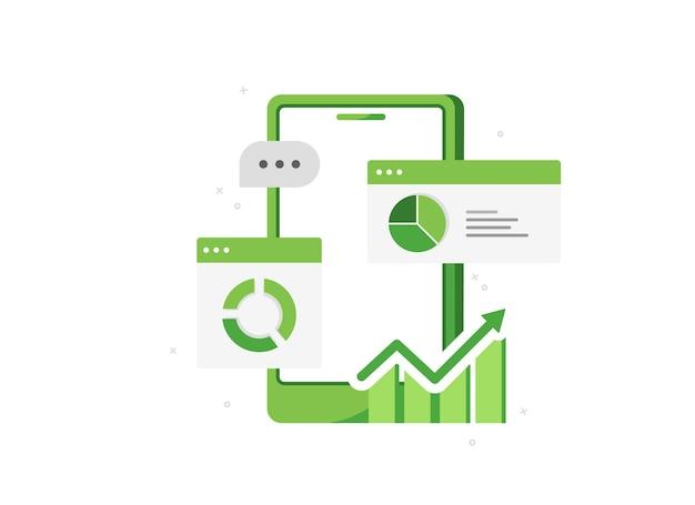 Telefono cellulare con analisi aziendale e marketing online in design piatto