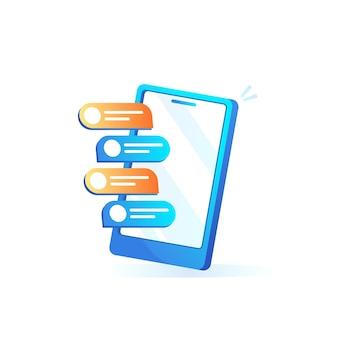 Telefono cellulare con bolle di chat in design sfumato