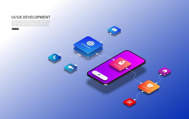 Telefono cellulare con interfaccia smontata. esperienza utente, interfaccia utente nell'e-commerce. wireframe del sito web per app mobili