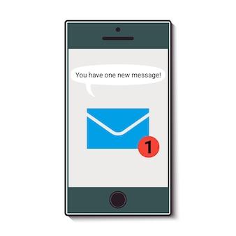 Telefono cellulare con messaggio in arrivo. illustrazione vettoriale