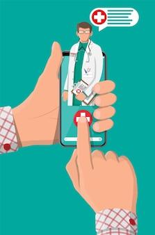 Telefono cellulare con app per lo shopping in farmacia su internet