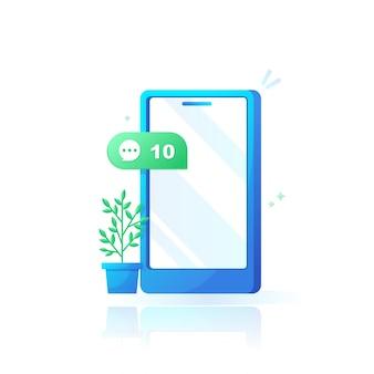 Telefono cellulare con commenti o messaggi sui social media a fumetto con design sfumato