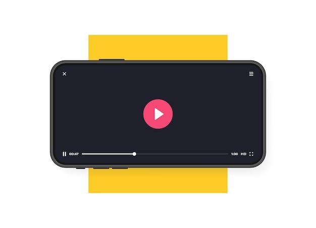Telefono cellulare con lettore video. app mobile per la riproduzione di video. concetto di social media. videoconferenza, streaming, blog.