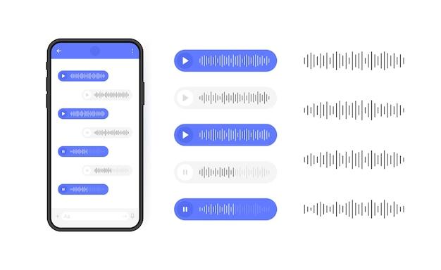 Telefono cellulare con l'icona di messaggi vocali. bolla di messaggio con onda sonora per i social media. illustrazione moderna.