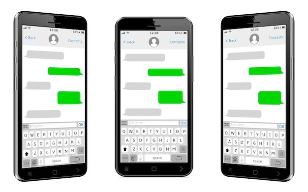 Telefoni cellulari con schermata di chat e messaggistica