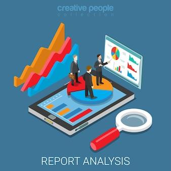 Strumento di analisi del report mobile app piatto isometrico