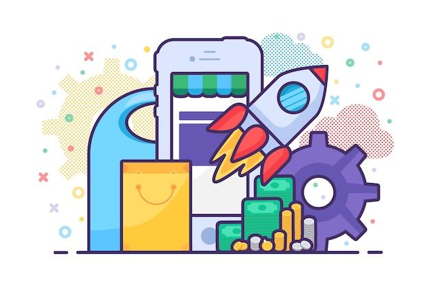 Negozio di vendita mobile che lancia il vettore dell'applicazione. processo aziendale di sviluppo di app per telefono negozio internet, commercio elettronico sul mercato. lancia razzo, dispositivo smartphone e shopping bag