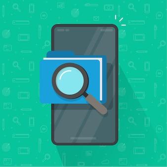 Scansione o ispezione mobile dei documenti della cartella di file sull'illustrazione del telefono cellulare