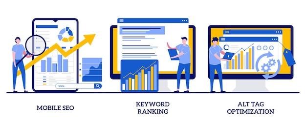 Agenzia seo per dispositivi mobili, posizionamento delle parole chiave, concetto di ottimizzazione dei tag alt con persone minuscole. set di marketing per motori di ricerca. posizionamento del sito web, navigazione nelle pagine.