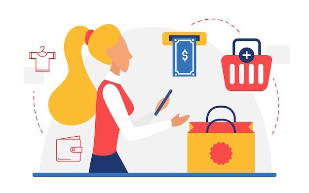 Lo shopping mobile acquista il concetto online con la donna acquirente che compra la ragazza che paga gli acquisti
