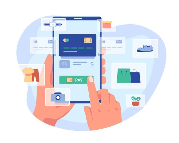 Concetto di acquisto mobile gadget, applicazioni per lo shopping su internet. illustrazione design piatto