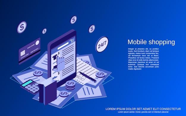 Illustrazione di concetto di vettore isometrico 3d piatto mobile shopping
