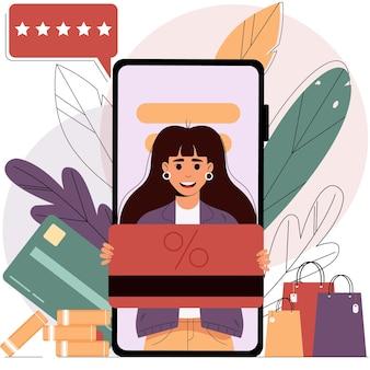 Shopping mobile da uno smartphonevendita di concetto di shopping online illustrazione vettoriale isolata