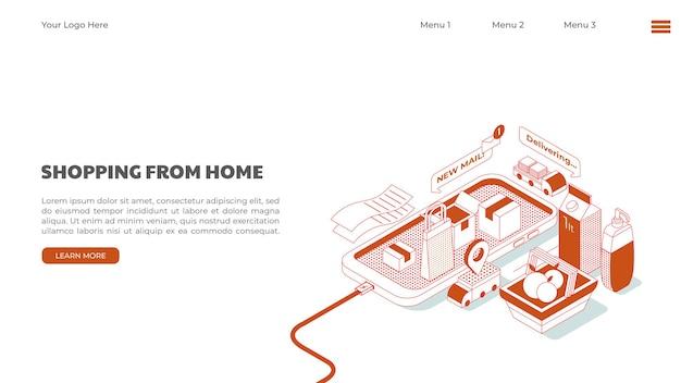 Shopping mobile o illustrazione dello shopping online realizzata in stile isometrico visualizzata con il componente dello shopping