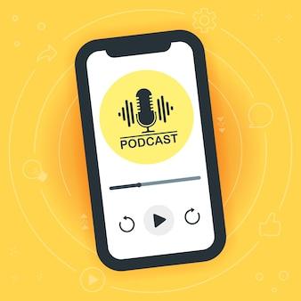 Smartphone mobile con logo podcast sullo schermo. trasmissione radiofonica su internet. uomo astratto che ascolta o registra un podcast audio. firma con un microfono. illustrazione vettoriale isolato
