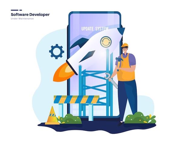 Illustrazione del tecnico sviluppatore di software mobile
