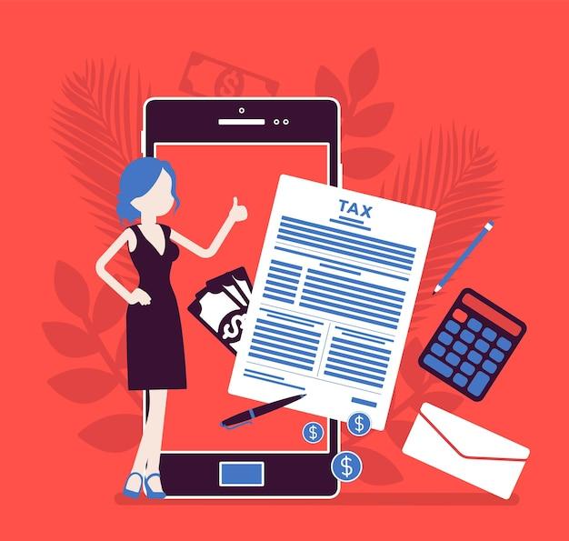 Servizio di pagamento delle tasse mobile per imprenditrice. contribuente femminile che versa un contributo finanziario tramite smartphone, datore di lavoro che calcola il reddito totale, guadagna online. illustrazione vettoriale, personaggio senza volto