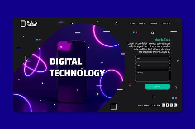 Modello di pagina di destinazione della tecnologia mobile