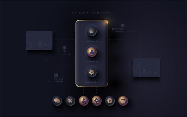 Mobile ui ux korbon e concetto d'oro