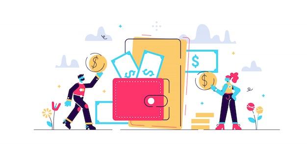Illustrazione del portafoglio mobile.