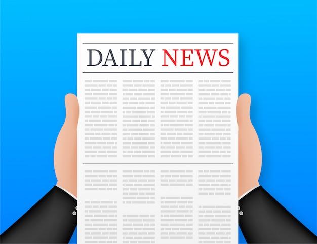 Mock up di un quotidiano vuoto. giornale intero completamente modificabile in maschera di ritaglio. illustrazione